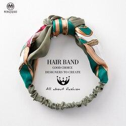 MENGJIQIAO Women Hair Accessories Fashion Headband Fabric Cross Knotted Bow Chiffon Floral Hair Band Korea Headdress ladies Hoop