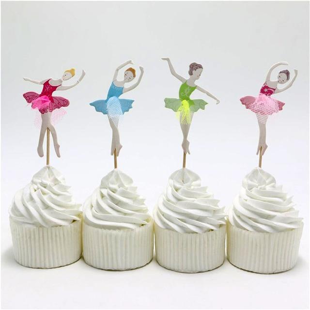 24pcslot Happy Birthday Ballet Dance Girl Cake Toppers Kids Favors