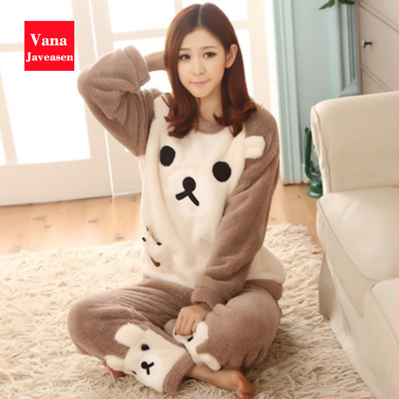 Vana Javeasen Coral Fleece Women's Sleepwear   Sets   Sweet Cartoon Female   Pajama   2Pcs Autumn And Winter Warm   Pajamas     Set   Gecelik