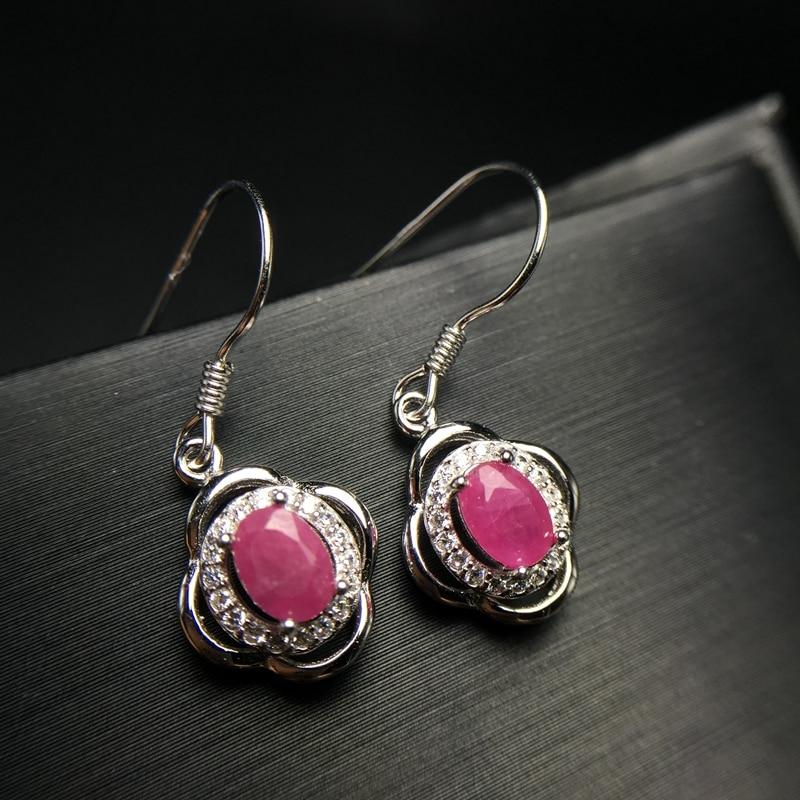 Boucles d'oreilles en pierre rouge rubis Almei pour femmes, boucles d'oreilles en argent Sterling 925 pour femmes filles 20% FR174