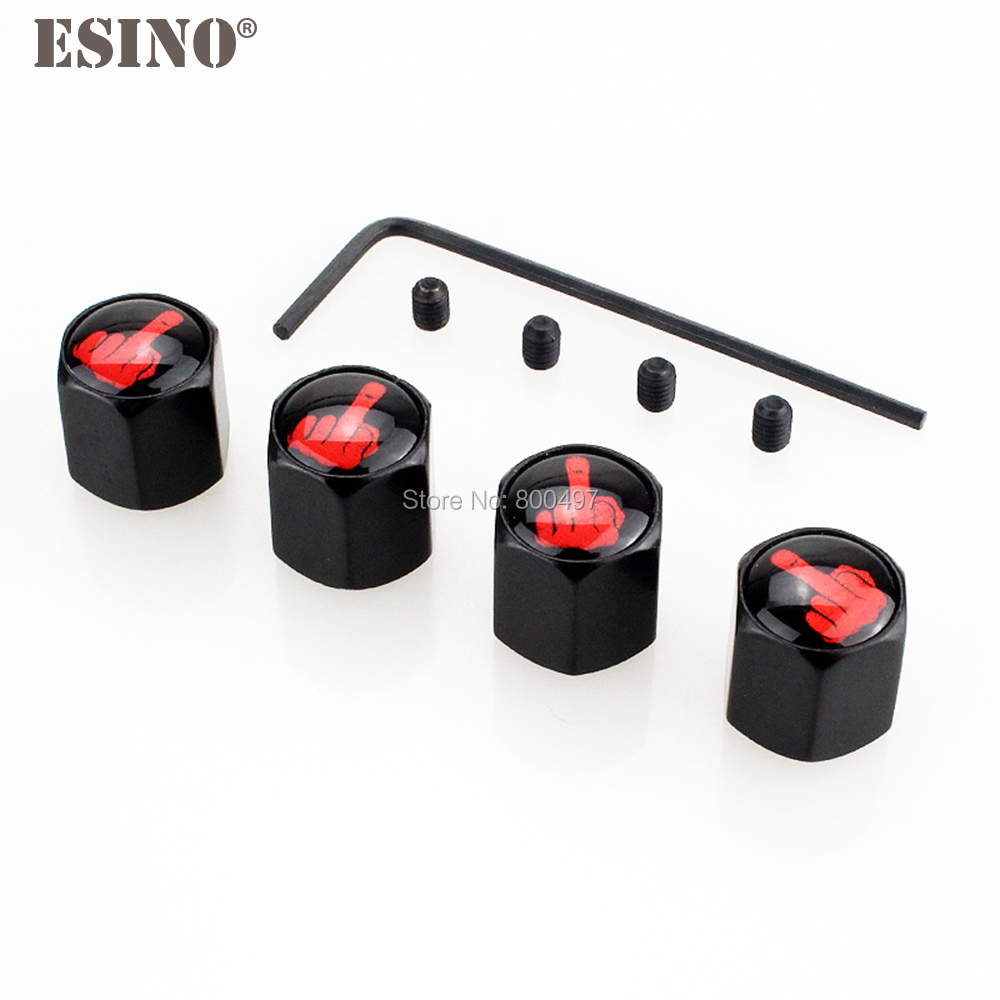 4 X Car Styling Funny Middle Finger Anti-theft Stainless Wheel Tire Valve Stems Caps Car Wheel Tire Stem Air Valve Caps
