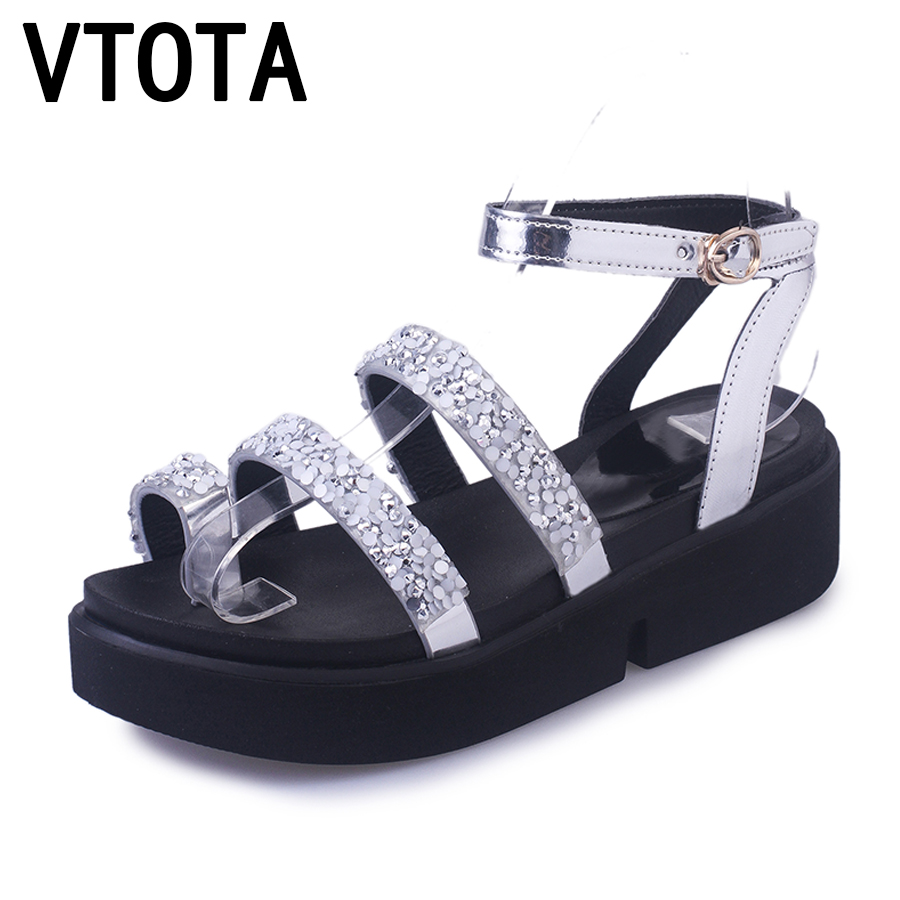VTOTA Platform Sandals 2017 Summer Shoes Woman  Rhinestones Casual Open Toe Gladiator wedges Trifle Mujer Women Shoes Flat A12 2017 gladiator summer shoes woman platform sandals women flats soft leather casual open toe wedges sandals women shoes r18