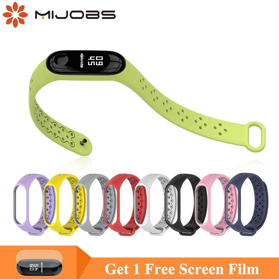 Mijobs Mi Band 4 Sport Strap Wrist Bracelet For Xiaomi Mi Band 4 Silicone Smart Watch Anti-Lost Miband 3 Strap Wristbands