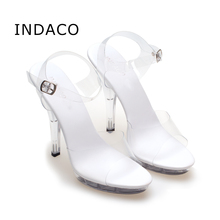 Women Transparent High Heels Sandals Platform Summer Waterproof Female Crystal Wedding Shoes Sandalia Feminina 12cm INDACO