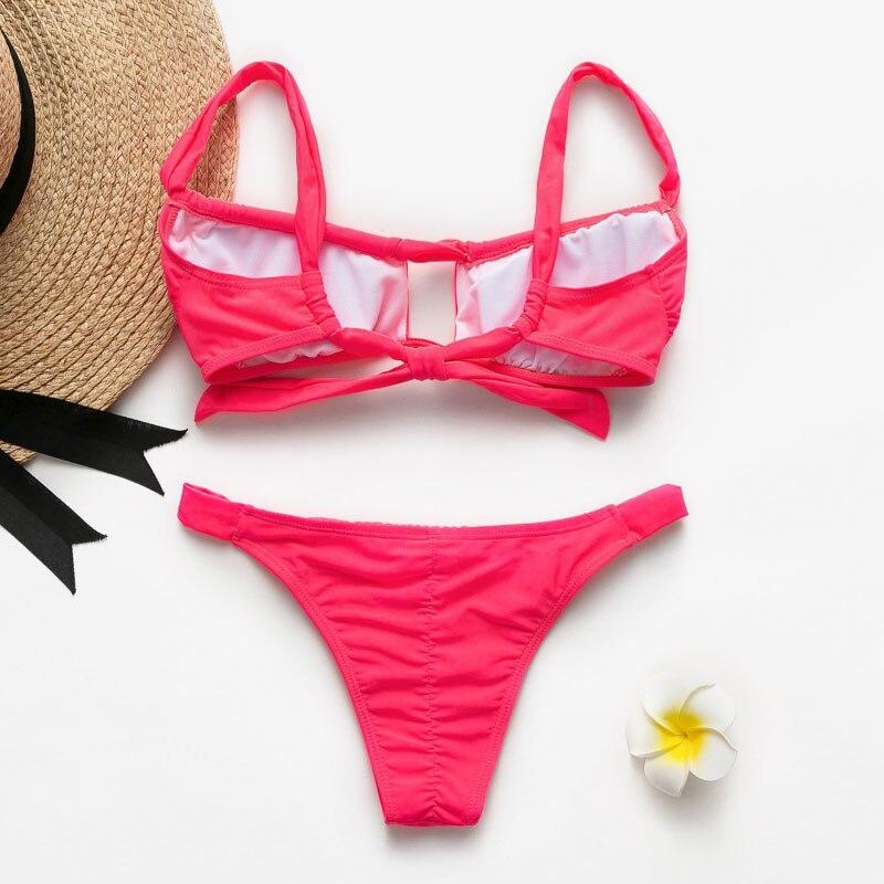 HTB1ZsDLRSzqK1RjSZFLq6An2XXaj Peachtan Sexy pink swimwear women bathing suit Bandeau bikinis 2019 mujer Micro swimsuit female Push up two-piece suit summer