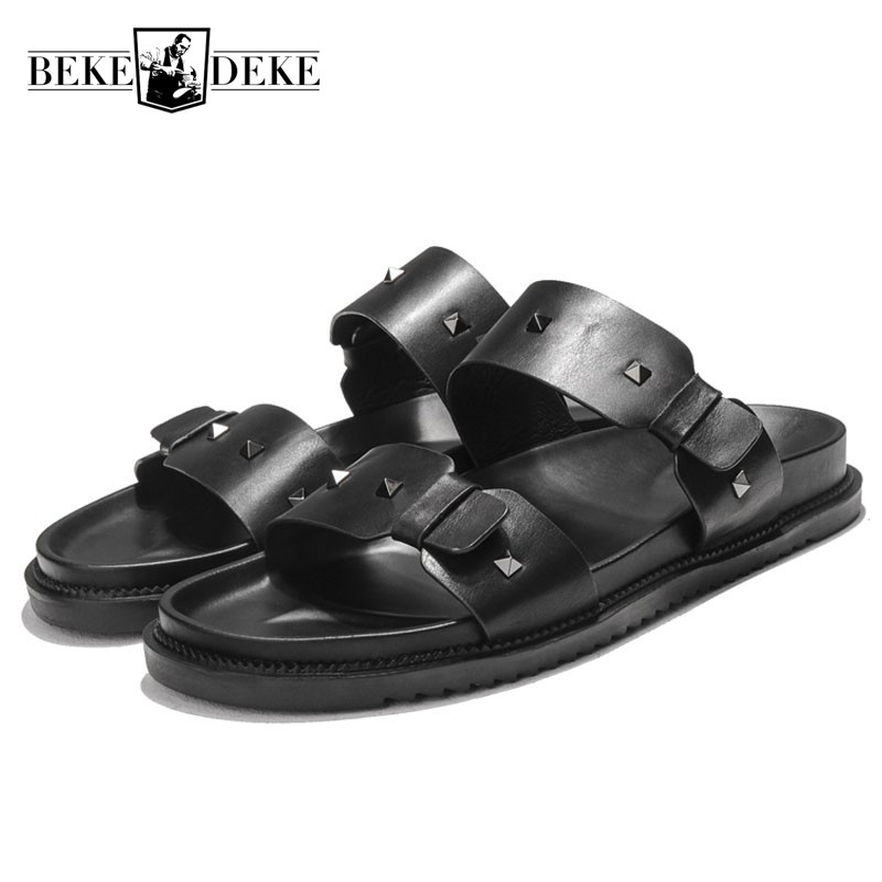 2018 New Summer Rivet Mens Genuine Leather Slippers Soft Platform Beach Sandals Casual Antiskid Slip On Shoes Sandalias Hombre