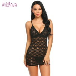 Avidlove Floral Lace Sexy Lingerie Erotic Hot Babydoll Dress Women Mini Nighty Sex Costume Porn Underwear Set Exotic Clothing