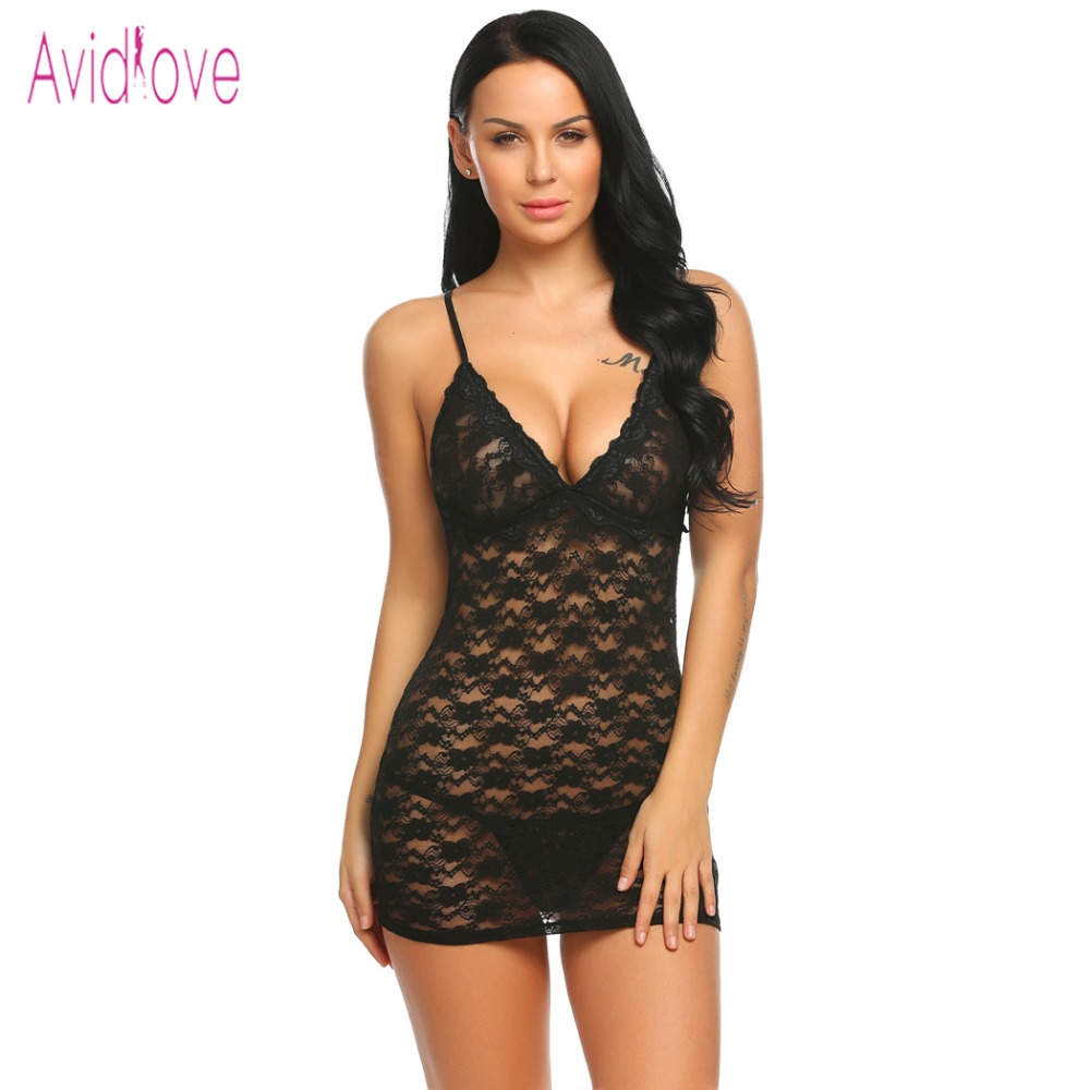 Avidlove Floral encaje Sexy Lencería erótica caliente Babydoll Vestido Mujer Mini Nighty sexo disfraz porno ropa interior conjunto ropa exótica