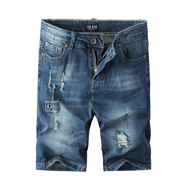 Newly Fashion Men's Dark Blue Color High Street Summer Short Jeans Stretch Knee Length Brand Ripped