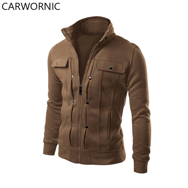 CARWORNIC Autumn Military Style Soft Shell Jackets Outdoor Slim Street wear Fleece Coats Winter Windproof Warm Cotton Jackets