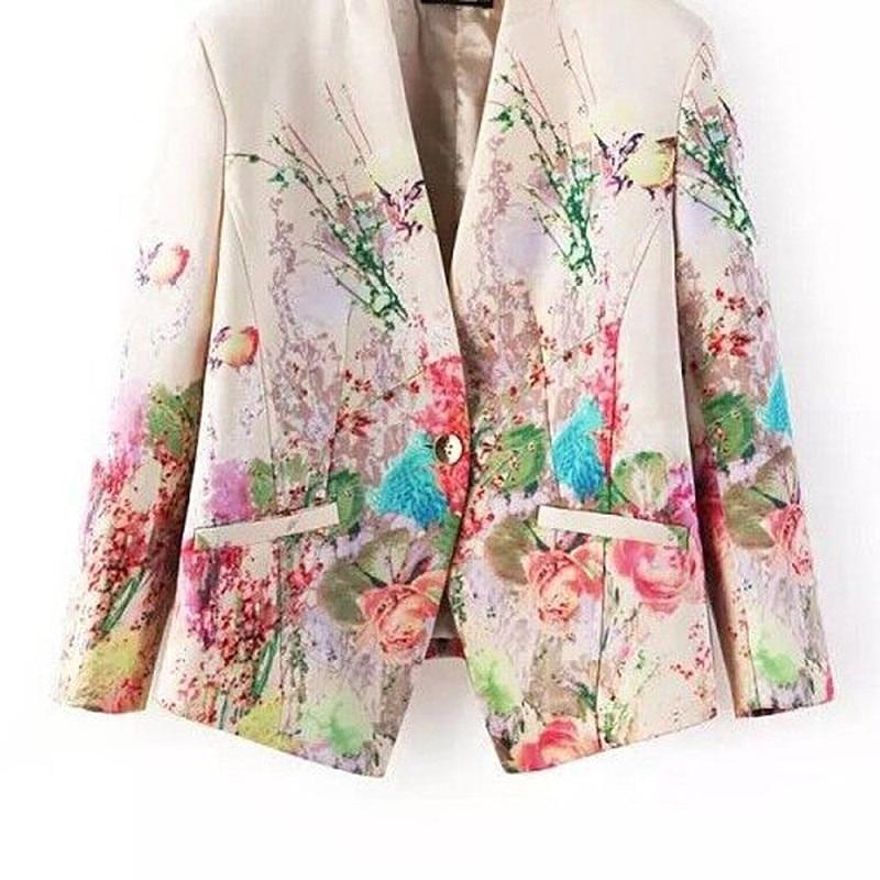 2018 New Women Floral Blazer Elegant Single Breasted Flower Print Blazers Casual Jacket Female Office Work Suits Blazers XL Coat 1