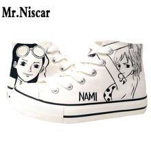Mr.Niscar Women's Shoes One Piece Nami Robin Woman Canvas Shoes High Top Lace-Up Ladies Flats Fashion Women Shoes Breathable