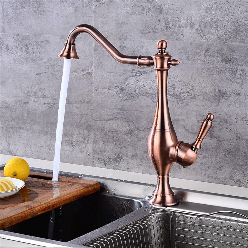 Kitchen Faucet Antique Red Bronze Kitchen Faucet Copper Kitchen Sink Mixer Tap Crane Faucet Deck Mounted Hot Cold Tap Torneiras