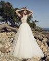 Dreagel Romántica O-cuello de Las Mangas Del Casquillo de la Playa Vestidos de Novia 2017 Apliques de Encaje Vestido de La Cintura Plisada Vestido de Novia Robe de Mariage