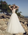 Dreagel Romântico O-pescoço Mangas Praia Vestidos de Casamento 2017 Apliques de Renda Vestido de Cintura Plissada Vestido de Noiva Robe de Mariage