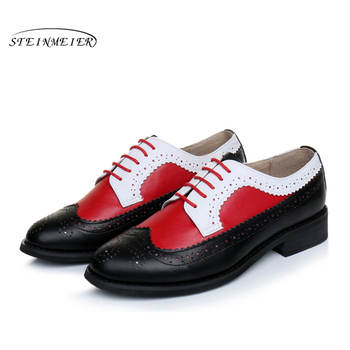 Men Genuine cow leather brogue flats shoes handmade vintage casual sneakers shoes oxford shoes for men black red white 2020 women genuine cow leather casual designer vintage lady flats shoes handmade oxford shoes for women 2020 black spring