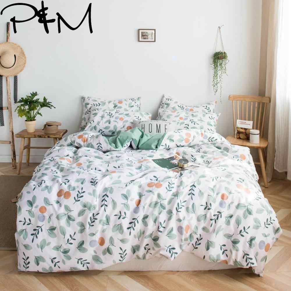 Papa&Mima Oranges and leaves print Pastoral style cotton Queen King size bedding set duvet cover flat sheet pillowcases