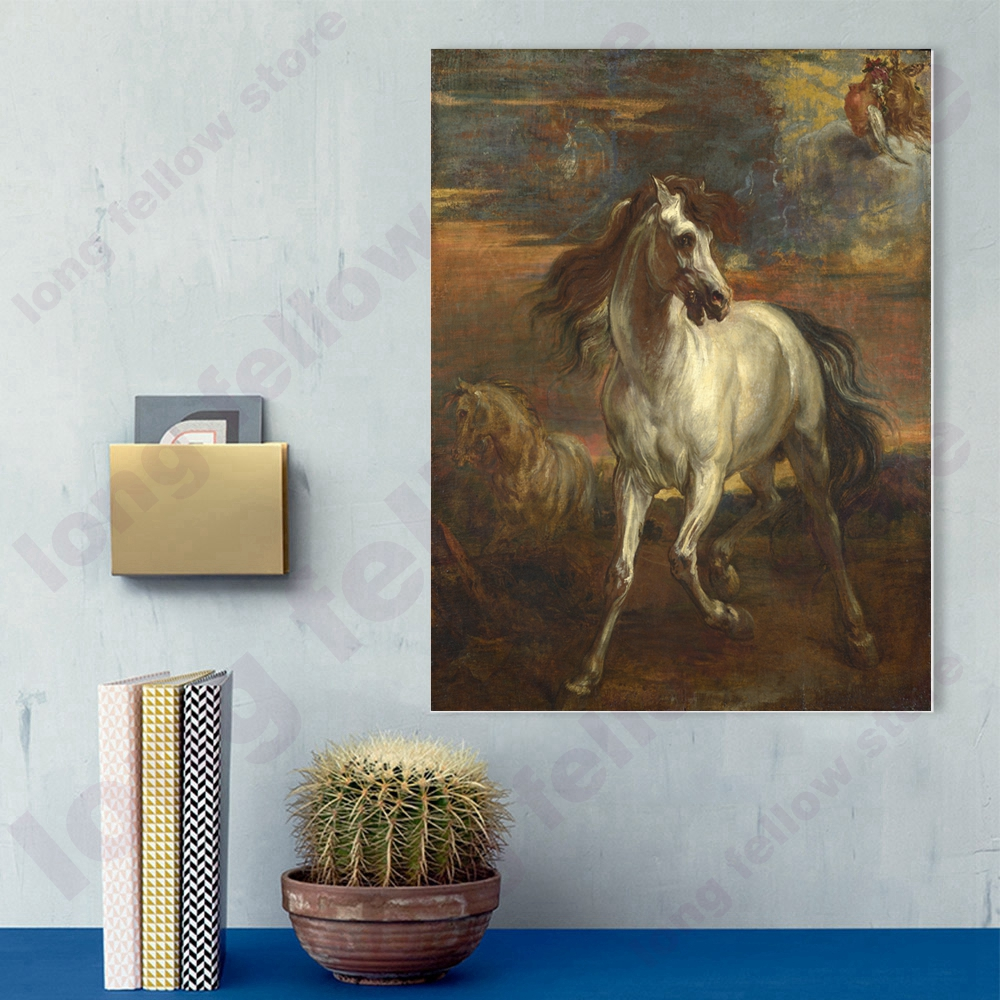 Van Dyck Achilles 39 Horse Replica Canvas Print Wall Art The Horses of Achilles Landscape Painting for Living Room Home Wall Decor in Painting amp Calligraphy from Home amp Garden