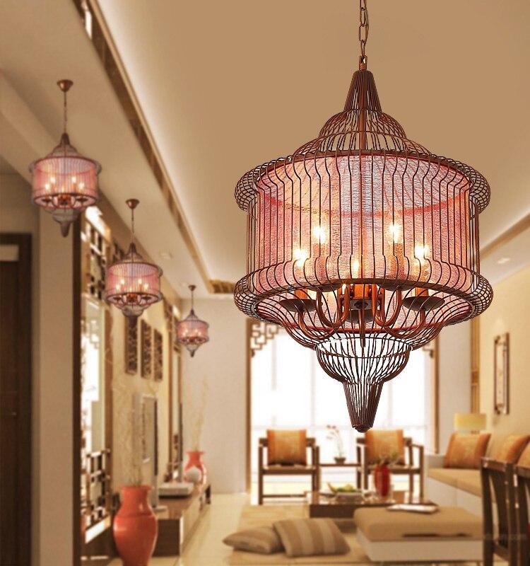 Led creative restaurant corridor iron pendant lamps antique teahouse hotel cage lamp retro Chinese style pendant lights ZA ZL500