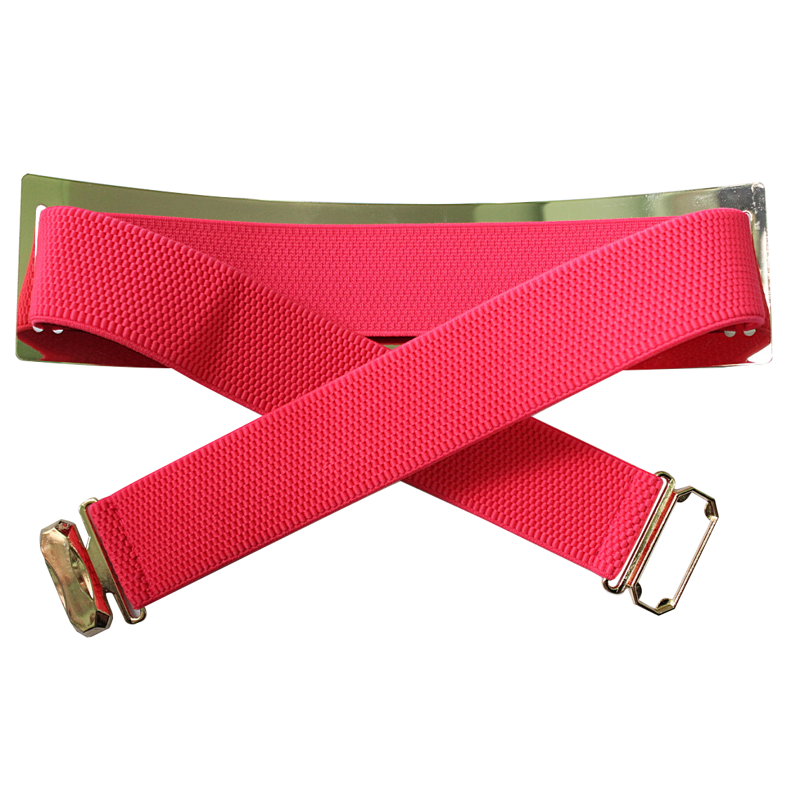 Fluorescent Pink Chic Metal Buckle Elastic Waist Belt For Women