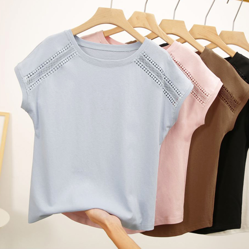 Женские кружевные блузки korobov, летние хлопковые рубашки с рукавом «летучая мышь» большого размера, 78677