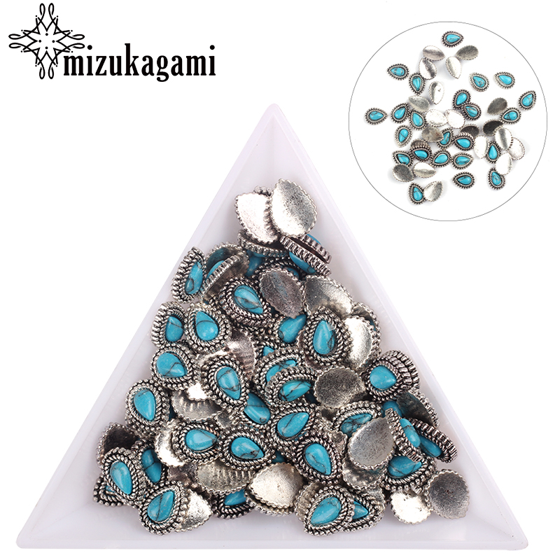 20pcs/lot Silver Zinc Alloy Metal Small Tear Water Drop UV Gel Art Decoration Set Beads For DIY UV Charms Jewelry Accessories