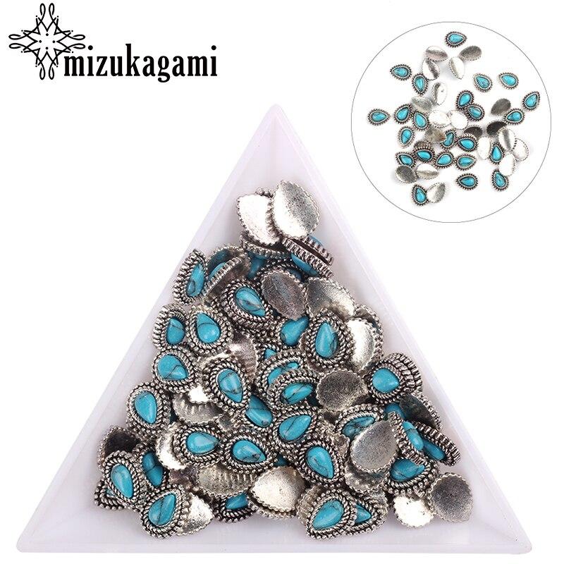 20pcs/lot Silver Zinc Alloy Metal Small Tear Water Drop UV Gel Art Decoration Set Beads For DIY UV Charms Jewelry Accessories