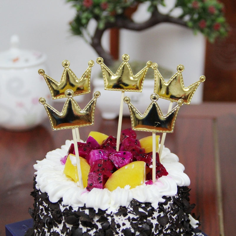 20pcs Lovely Cup Cake Topper Crown Heart Star For Birthday Wedding Baby Shower Party Cake Decoration Dessert Gifts