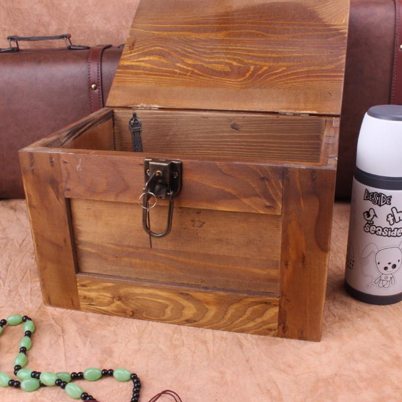 Treasure Chest Wooden Lockable Storage Box Cosmetic Secret Safe Storage  Storage Box Versatile Storage Containers Free Shipping In Storage Boxes U0026  Bins From ...