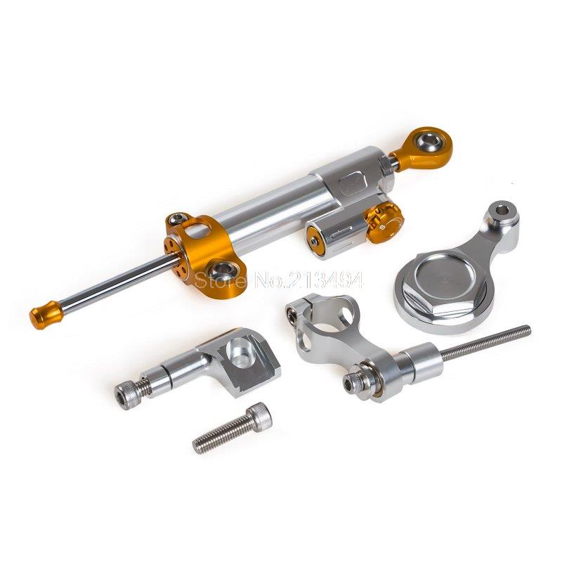 Горячие Продажи Регулируемый Амортизатор Рулевого Механизма и Кронштейн Для Yamaha YZF-R1 YZFR1 09-12 YZFR6 YZF-R6 06-15 серебро