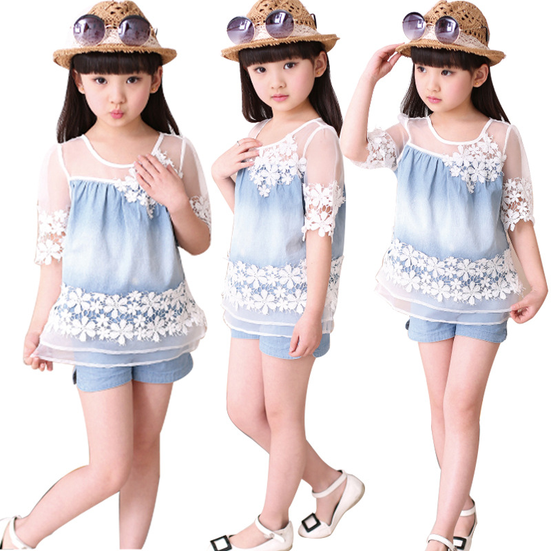 2Pcs Suit 3-14 Y 2017 Summer Girls Clothing Sets Baby Teenage Kids Girl Clothes Denim Lace Short Sleeve Tops+Short Pant retail kids 2017 baby girls clothes summer girls clothing sets kids clothes girl denim t shirts denim shorts sets 2 6 years 2