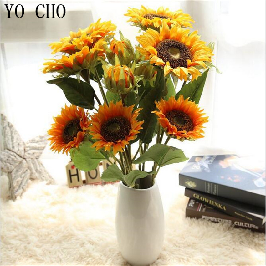 YO CHO Silk Fake 3 Heads Artificial Sunflower Wedding Decoration Peony  Flowers Party Eustoma Fleurs Hogar