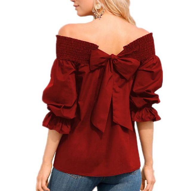 df408b86a0e93e Sexy Off Shoulder Tops 2018 Spring Summer Plus Siz Strapless Women Red  Blouse Bowknot Slash Neck Shirts Casual Loose Blusas-in Blouses   Shirts  from Women s ...