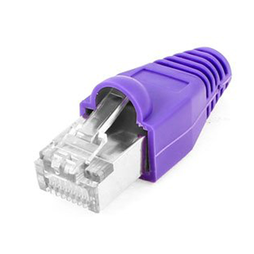 CAA-Hot Sale 10Pcs Metal Shielded 8P8C RJ45 Plug Network Connectors w Boots Cover