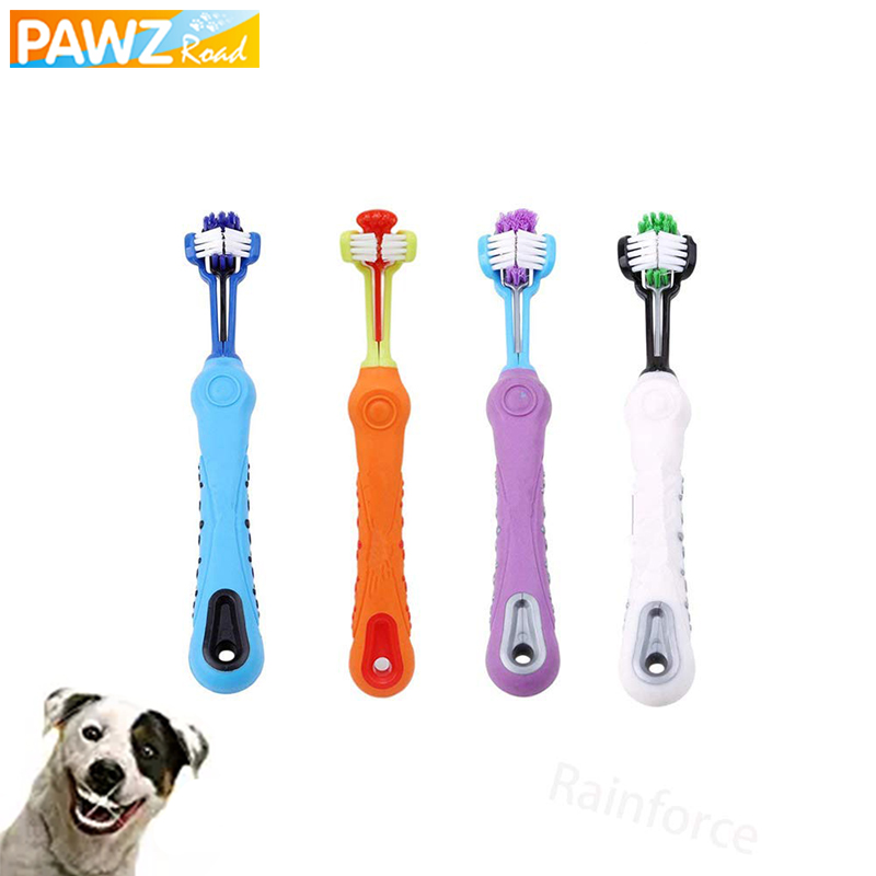Pet Dog Toothbrush Three Sided Toothbrush for Dog Cats Grooming Brush Remove Bad Breath Tartar Teeth Care Dog Cat Cleaning Mouth