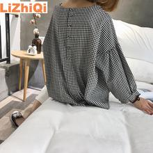 LIZHIQI Autumn spring blusas femininas o-neck after buckle plaid lantern sleeve pullover shirt loose blouse women ropa mujer