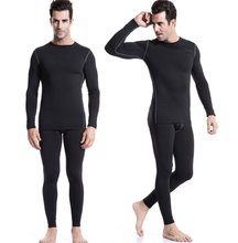 Mens Crewneck Quick Dry Thermal Underwear Compression Sets Winter Sports Must-Have Lightweight Tight Top & Bottom