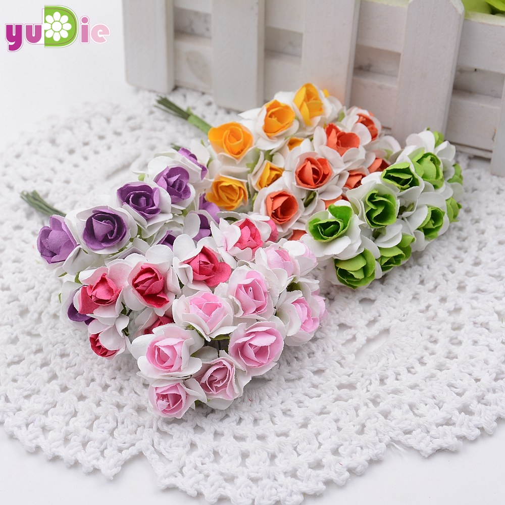 10pcs Mini Miniature Rose Paper Flower 1cm Artificial Flower Wedding