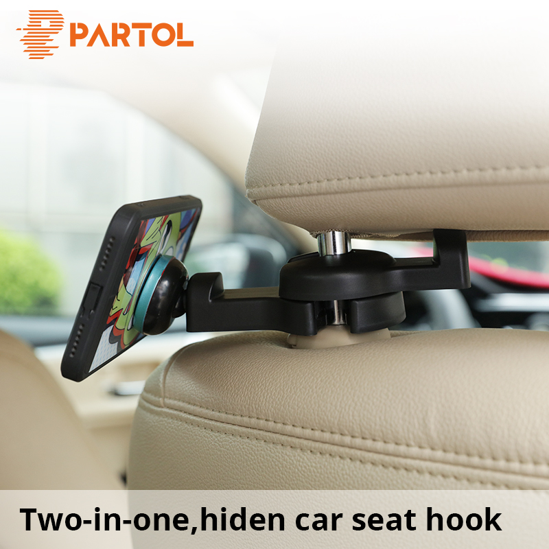 8add53c22e9 Partol Universal Car Seat Back Hooks with Magnetic Phone Holder Auto Front Seat  Hanging Hook Vehicle Headrest Organizer 1pc pack