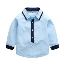 Spring Long Sleeve Shirts For Boys England Kids School Blouse Turn Down Collar Boys White Shirts недорого
