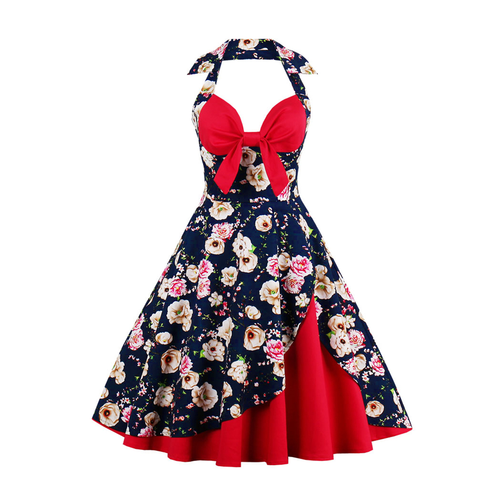 2556ac8d464 Wipalo New Women Vintage Dress Plus Size Floral Print Pin Up Halter ...