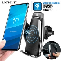 Wireless Charger Car Phone Holder For Samsung S10 iPhone X QI Fast Charge Universal Mobile Phone Stand Smartphone Holder Support