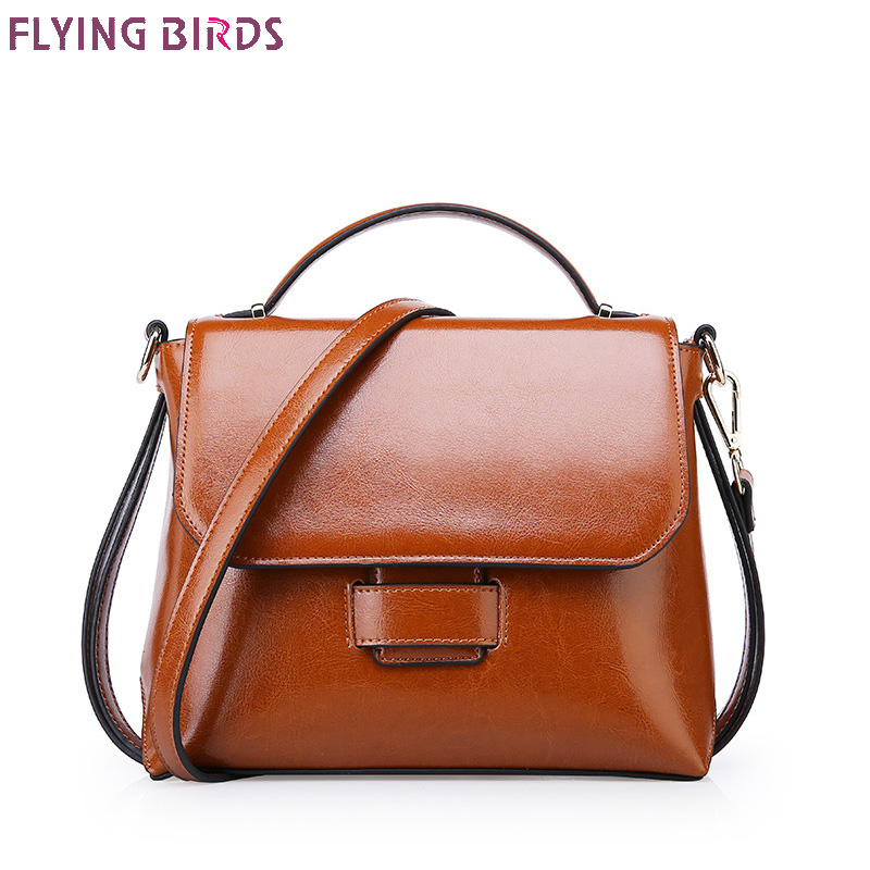 FLYING BIRDS Cow Leather Women Bags Famous Brand lady Shoulder Bag Designer tote Handbag Quality Big Female Two ply cowhide bags ldajmw 2018 women bags brand designer pu leather waist bag lady s belt bags female famous chest handbag shoulder bag purse