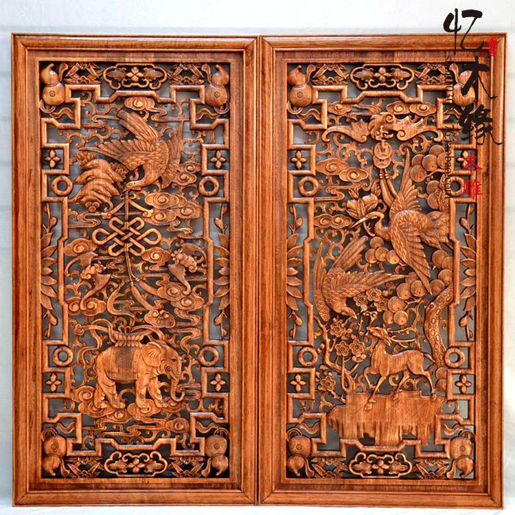 Dongyang woodcarving camphor wood wood vertical screen auspicious Chinese style decoration wall hanging screen entrance mural. valentine s day heart starlight print tapestry wall hanging decoration