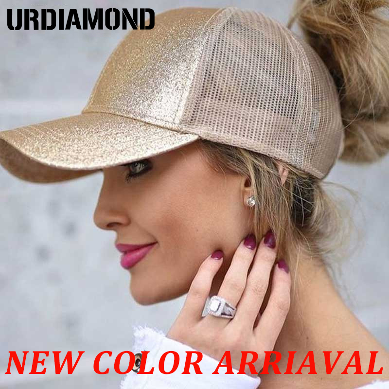 URDIAMOND 2019 Ponytail Baseball Cap Women Messy Bun Snapback Summer Mesh Hats Casual Sport Sequin Caps Drop Shipping Hat Cap(China)
