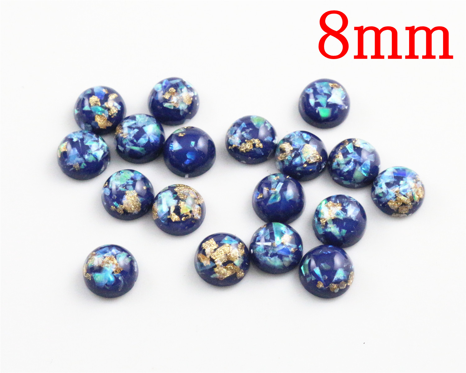 New Fashion 8mm 40pcs/Lot Blue Color Built-in Metal Foil Flat Back Resin Cabochons Cameo V7-30