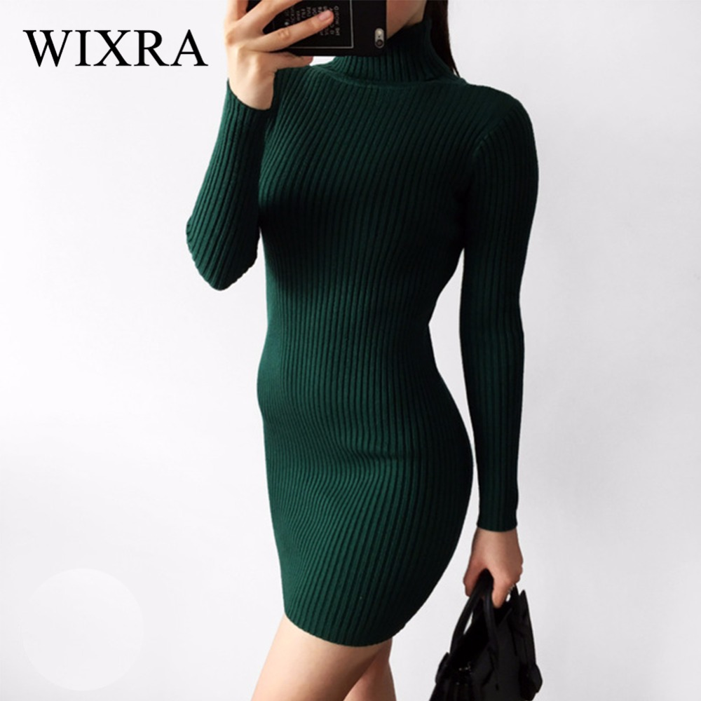 60ad211ffe8 Wixra Warm and Charm Slim Sheath Package Hip Knitted Sweater Dress Long  Sleeved Turtleneck Thick Bodycon