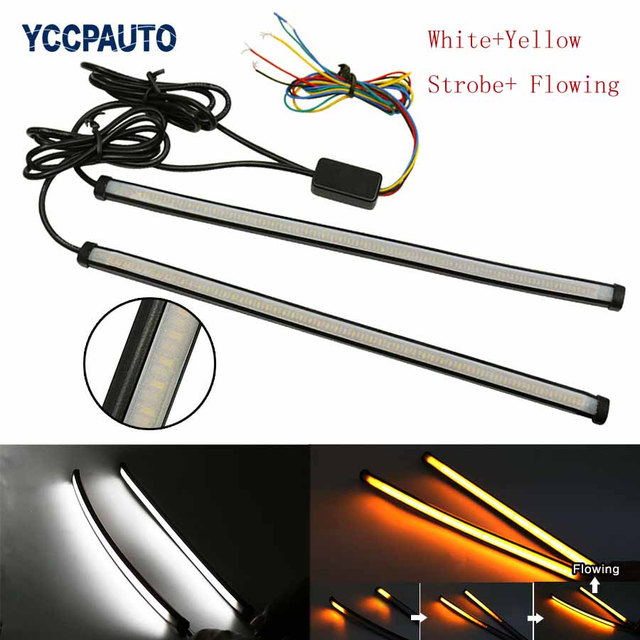 car styling DRL turn signal light yellow white strobe led flowing model flow daytime running light 30cm flexible headlight strip 2pcs 12v car drl led daytime running light flexible tube strip style tear strip car led bar headlight turn signal light parking