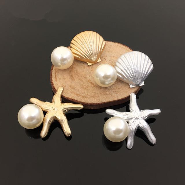 30 PCs de Prata Tom de Ouro Estrela Do Mar Concha com Pérola Redonda Branca Decor Liga Botão Remendo Adesivo Craft Ornamento Acessórios