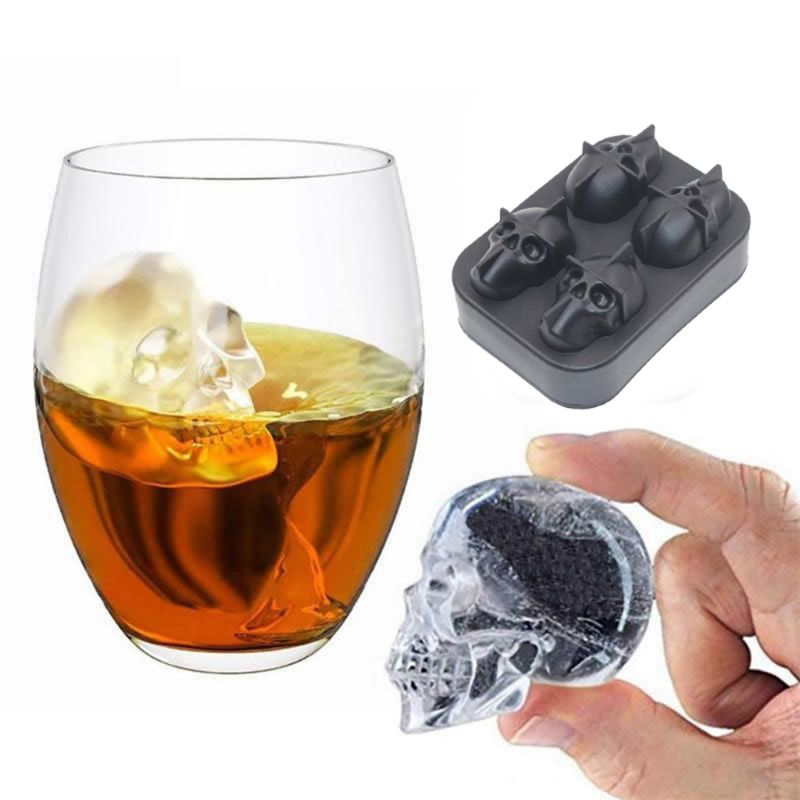 Skull Head Ice Cube Mold Halloween Skull Shaped Whisky Wine Ice Cube Tray Maker Chocolate Mould Bar Party Supplies